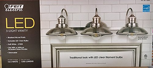 Feit Electric LED 3-Light Vanity, 1350 Lumens, Soft White - 2700K, Dimmable, Brushed Nickel (Light Bath Vanity Lighting)