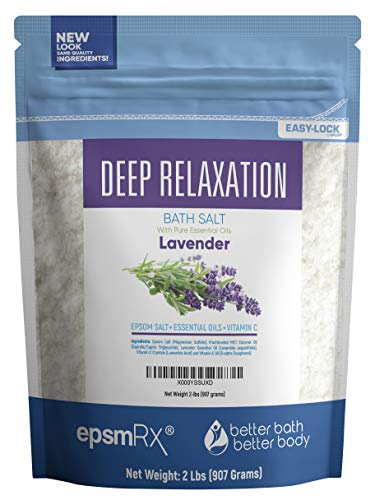 Deep Relaxation Bath Salt 32 Ounces Epsom Salt with Lavender Essential Oil Plus Vitamin C and All Natural Ingredients BPA Free Pouch with Easy Press-Lock Seal