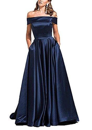 Drehouse Femmes Hors De L'épaule Robes De Bal Longues Robes De Soirée Avec Des Manches Bleu Marine