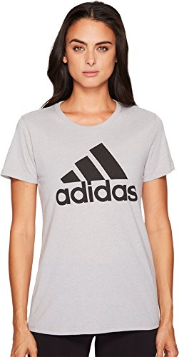 adidas Womens Badge of Sport Logo Tee, Medium Grey Heather/Black, X-Small