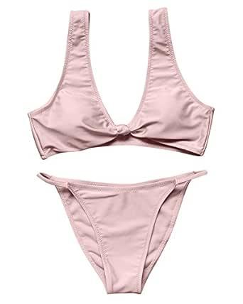 OMKAGI Moda mujer Hacer subir Bikini Conjuntos Nudo de Corbata ...