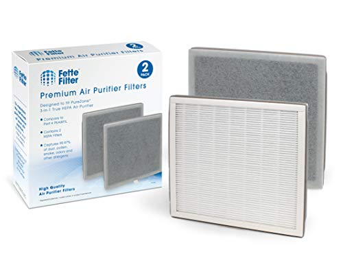 Fette Filter – Air Purifier Replacement Filter 3-in-1 True HEPA Filter Compatible with PureZone Air Purifier (Pack of 2)