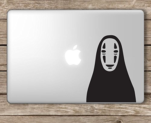 No Face Spirited Away Studio Ghibli - Apple Macbook Laptop Vinyl Sticker Decal, Die cut vinyl decal for windows, cars, trucks, tool boxes, laptops, MacBook - virtually any hard, smooth surface