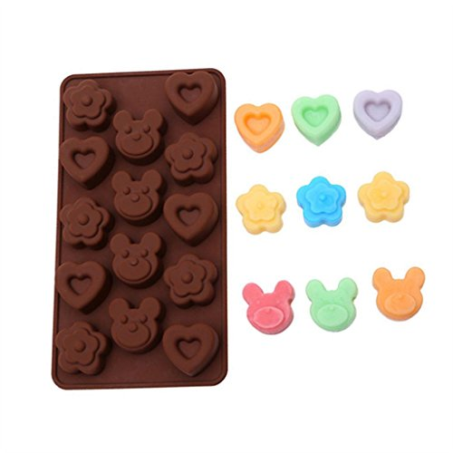 Mold Heart Bear Silicone Mold Silicone Ice Cube Tray Mold Maker Ice Cream Mold Maker LFGB Ice Mould bear And Heart Chocolate ice mold ()