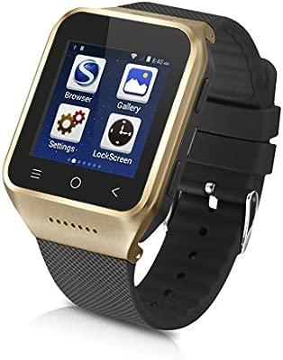 Excelvan PW6-G Smartwatch Movil 3G Libre (Android 4.4, Dual Core, 512MB RAM, 8GB ROM, Cámara 2.0MP,Bluetooth, Email, GPS, WIFI) - Dorado