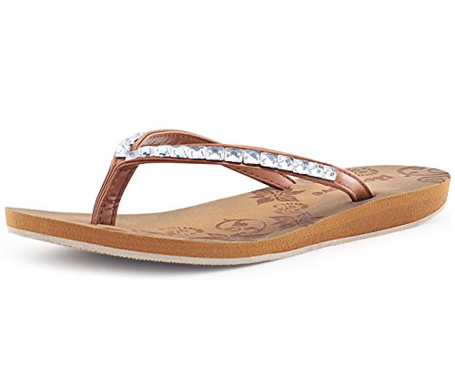 Women Leather Flip Flops (RockDove Rhinestone Flat Flip Flop Sandals For Women (7 B(M) US, Brown))