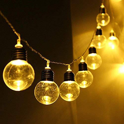 Sinohomie String Light LED Solar Powered String Lamp Beads Wedding Fairy Bulb Party Decor Retro Garden Decoration Bubble Ball (20led Warm White) -