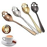 TAOtTAO 4 Pcs Skull Stainless Steel Coffee Drink Mixing Spoon Tableware Kitchen Teaspoon