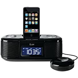 ILUV IMM153BLK IPOD DUAL ALARM CLOCK WITH BED SHAKER (BLACK)