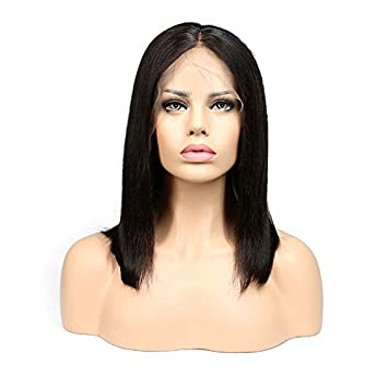 HYISHION Peluca, 100% Pelo Humano Brasileño Virgen Sin Procesar, Pelo Humano Liso,