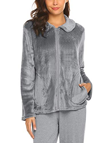 Cropped Double Zip Jacket - HOTOUCH Women's Plus Size Bed Jacket Cropped Robe Pajama PJ Grey M