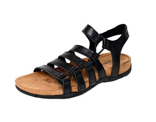 Lacing Black Casual Leather Sandals Minnetonka Womens On Ballard Slip 70820 n0wqqadA4