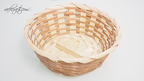 Round Reed Basket (rackcrafts.com Straw Wicker Reed Baskets Bins Party Favor Gift Candy Containers (Round))