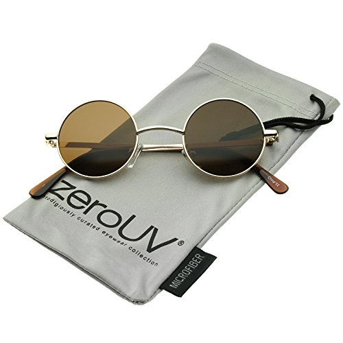 Small Retro Lennon Inspired Style Neutral-Colored Lens Round Metal Sunglasses 41mm -