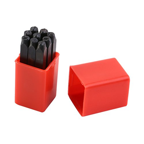 Zerodis 4mm Numbers 0-9 Stamps Punch Set Hardened Carbon Steel Metal Tool Kit for Imprinting Metal Wood Plastic Leather
