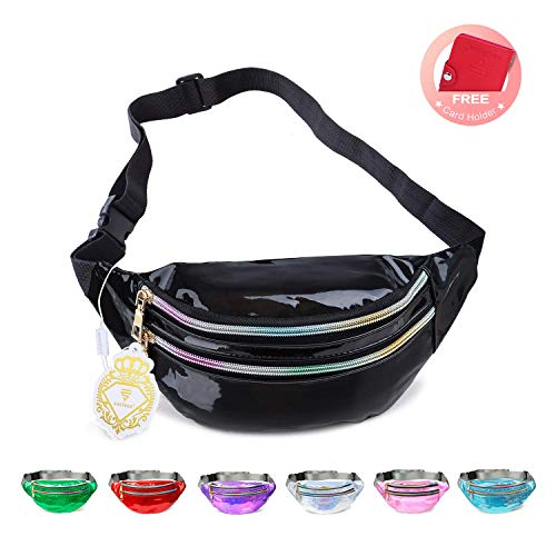 Fanny Pack Belt Bag, Holographic Fanny Packs for Women Men Kids, Fashion Waterproof Waist Pack with 3 Pouches Adjustable Strap, Shiny Causal Bags Cute Bum Bag Hip Sacks for Travel Festival Hiking Rave]()