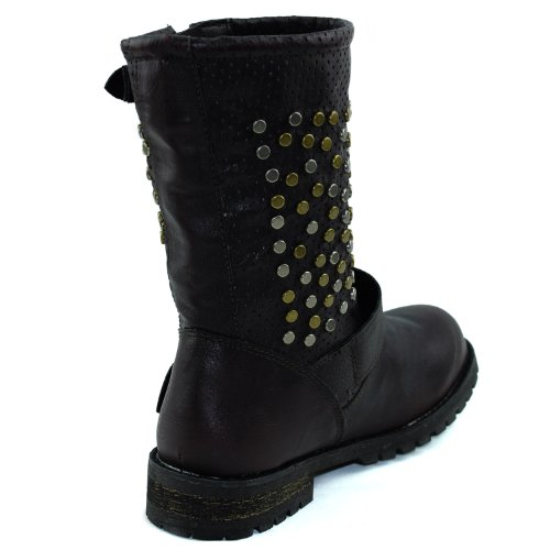 Studded Mid Buckle Military Women's Strap Red Booties Fashion Decorated Shoes Boots Combat Ankle Calf xEqwqndYI