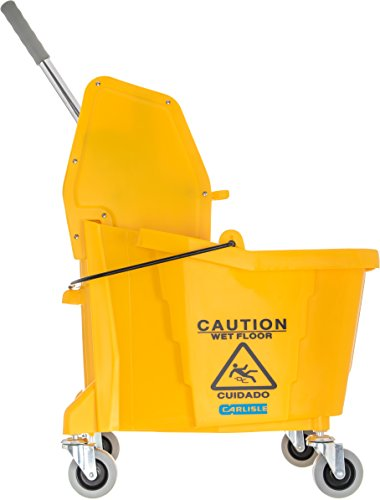 Carlisle 3690504 Commercial Mop Bucket With Down Press Wringer, 35 Quart Capacity, Yellow by Carlisle (Image #4)
