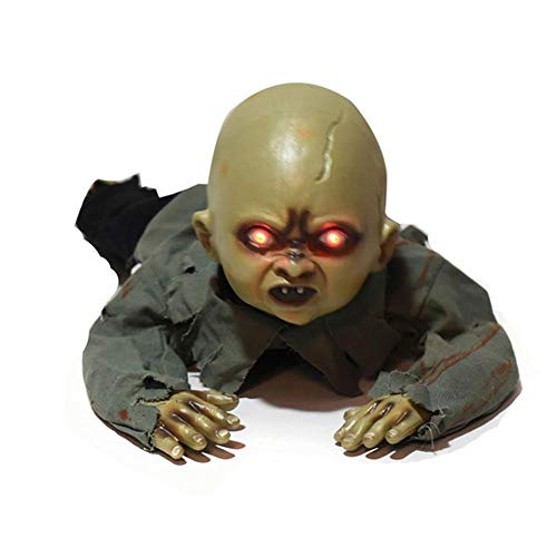 KOBWA Halloween Crawling Baby Horror Zombie Skeleton Animated Prop Party Bar Decorations,Animated Crawling Groundbreaker Zombie Reaper Prop,nimated Crawling Human Zombie Torso Prop Decoration
