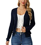 Sexyasasii Women's Long Sleeve V Neck Button Solid Color Down Lightweight Thin Knit Cardigan Sweater