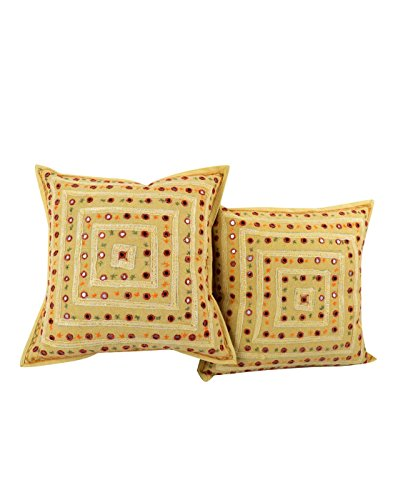 2 Pcs Set Embroidery Indian Sari Throw Pillow Toss Cotton Cushion Cover Designer Traditional Mirror Work Throw Pillow Cover 16 x 16 Inch -