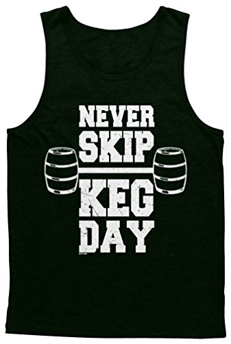 Blittzen Mens Tank Never Skip Keg Day, M, Black