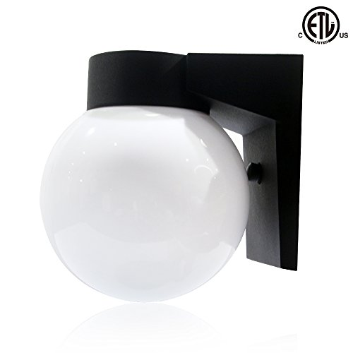 LED 9W Wall Light Outdoor Area Light Fixture, Waterproof 5000K Yard light, Floodlight Security Light, ETL Listed, 1 (White Acrylic Globes Entrance)
