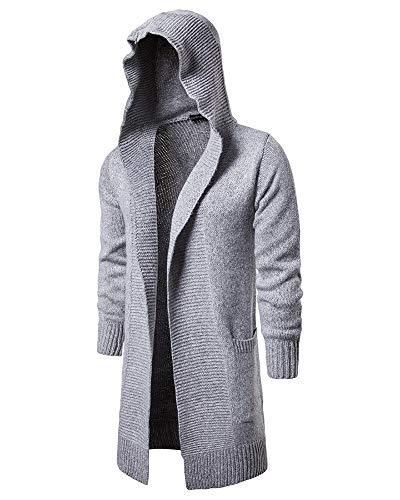 Pullover Con Giacca Sezione Grigio Da Uomo Felpa Lunga Chiaro Maglione Cappuccio Cappotto A Vento qwFXExAx
