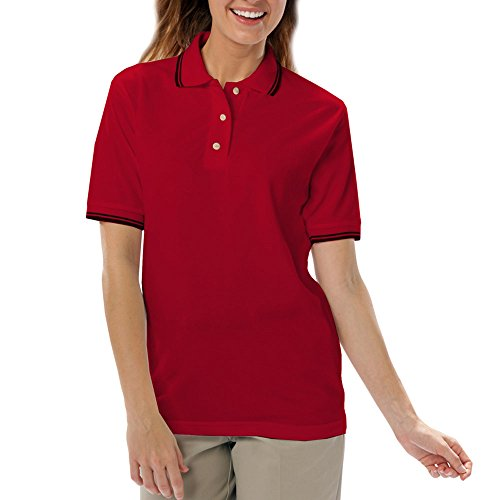 (Blue Generation BG6205 - Ladies' Tipped Superblend Pique (Small, Red/Black Tipping))