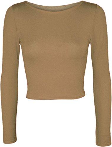 Fashion nuevo de las hadas–Camiseta de manga larga para cuello redondo Plain Top camiseta Tops UK 8–�?4 moca