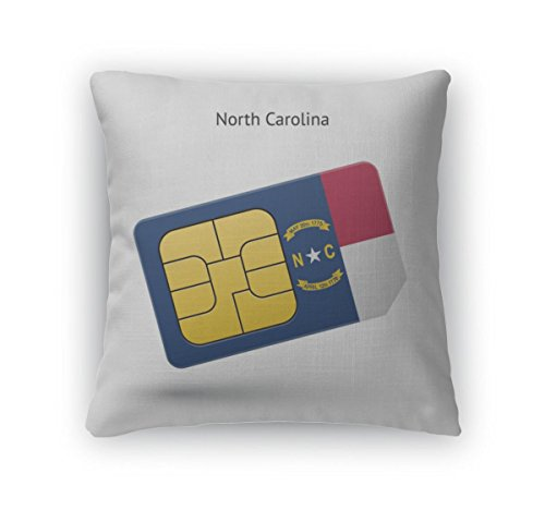Gear New Throw Pillow Accent Decor, State Of North Carolina Phone Sim Card With Flag, 20