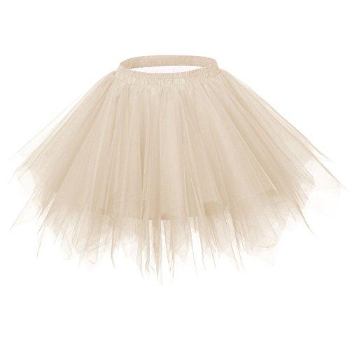 Ellames-Womens-Vintage-1950s-Tutu-Petticoat-Ballet-Bubble-Dance-Skirt-Champagne-SM