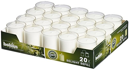 Bolsius Votive Candles - Set of 20 Restaurant and Relight Party Candle Holders -Votive Candles in Clear Cup - Home Décor Candles with Approx. 24 Hour Burning Time ()