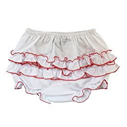 Baby Girl Ruffle Panty Diaper Covers - Red Trim, 12M