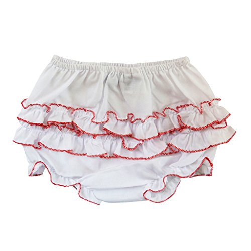 Carriage Boutique Baby Girl Ruffle Panty Diaper Covers - Red Trim, 6M by Carriage Boutique