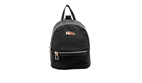 Amazon.com | Womens Leather Backpacks Solid Grey Pink Black Schoolbags Bag Waterproof Casual Small Backpack Mochilas Black | Backpacks