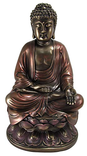 10 Inch Cold Cast Bronze Colored Resin Buddha on Lotus Statue