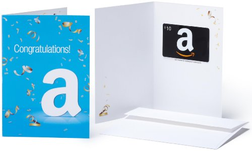 Amazon.com $10 Gift Card in a Greeting Card (Congratulations Design)
