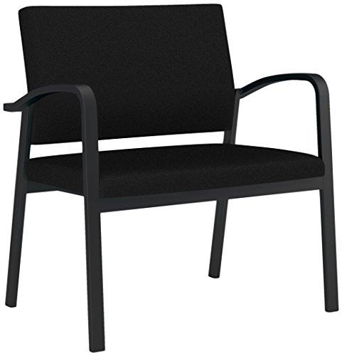 Lesro Newport Solid Fabric Bariatric Guest Chair, Core Macro, Black