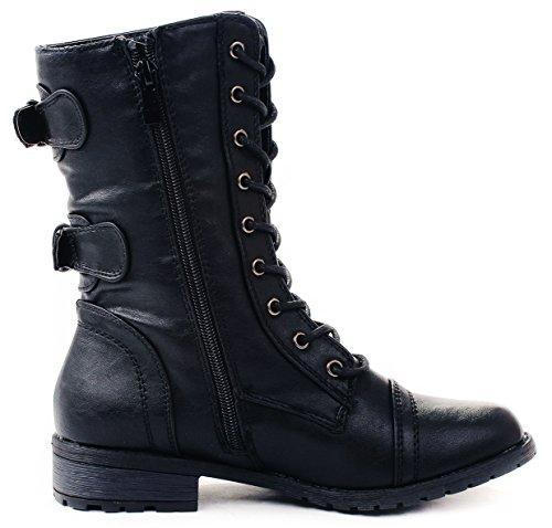 5 Calf 6 JJF Lace Mid Black Motorcycle Mango Combat Women 61 Boots Up Shoes Grommet Buckle Zip Zwr7YqZa