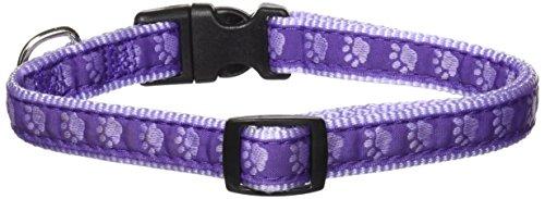 "Guardian Gear Nylon Two-Tone Pawprint Dog Collar, Fits Necks 14"" to 20"", Purple"