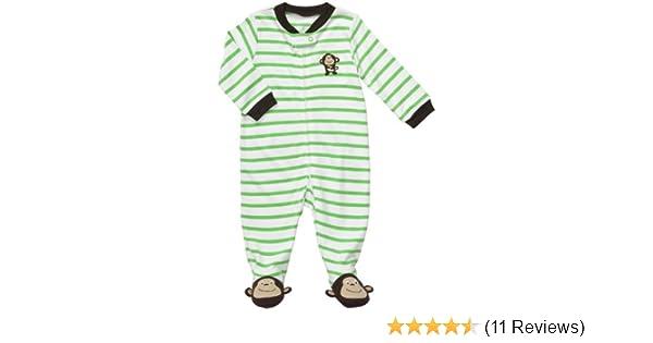 13338195e46d Amazon.com  Carters Monkey Stripe Zip Up Sleep   Play GREEN 3 Mo ...