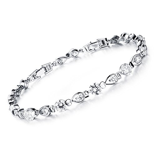 Stainless Steel Swarovski Elements Cubic Zirconia Bracelet with Extended Chain for Women 6.8+1.2""