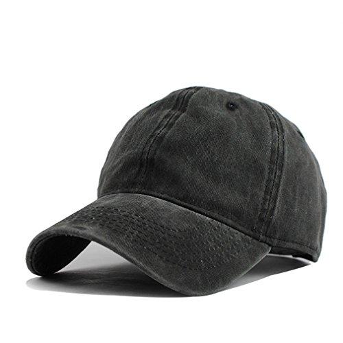 HH HOFNEN Unisex Twill Cotton Baseball Cap Vintage Adjustable Dad Hat - Twill Black Washed