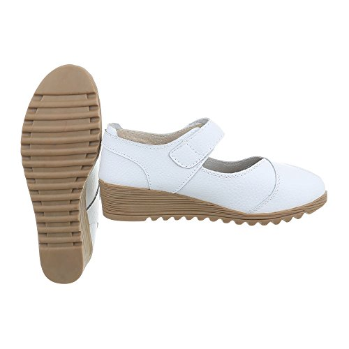 Women's Court Shoes Wedge Heel Wedges at Ital-Design White 8011 RUikNlc