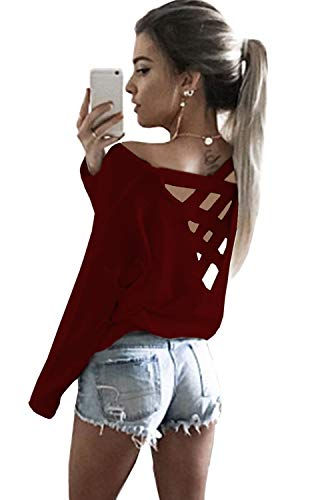 Yingkis Women's Cut Out Loose Pullover Criss Cross Backless Sweater Shirt Top,Wine Red XXL