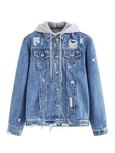 Hooded Jean Jacket - Floerns Women's Washed Distressed Button Front Hooded Jean Denim Jacket Blue L