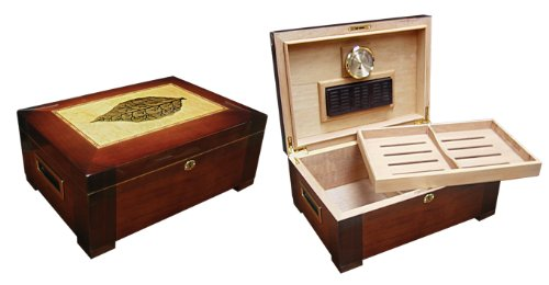 - Prestige Import Group 150 Ct. High Gloss Humidor w/ Tray & Tobacco Leaf Inlay