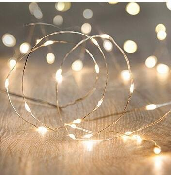 ANJAYLIA LED String Lights, 16.5Ft/5M 50leds Battery Operated Fairy Lights for Garden Home Party Wedding Festival Decorations(Warm White) Clear String Lights
