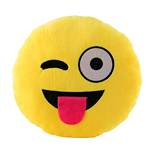 Wink Toung Out Cheeky Emoji Pillow 12.5 Inch Large Yellow Smiley Emoticon]()